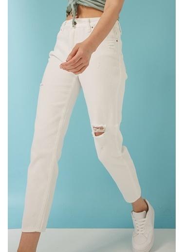 Modaset Yırtık Kadın Beyaz Jean Pantolon Beyaz